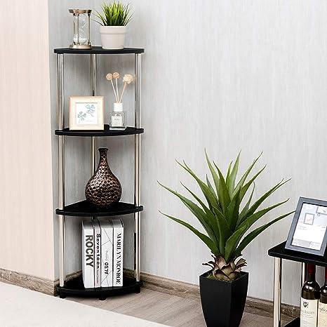 Tangkula 4-Tier Corner Shelf, Light Duty Storage Shelf, Living Room Display  Stand, Multifunctional Bookcase, Bathroom Organizer Shelf, Washroom Towel  ...