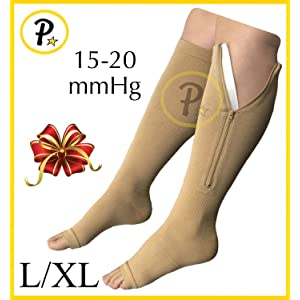 fa83c5e445 New Open Toe Knee Length Zipper Up Compression Hosiery Calf Leg Support  Stocking (L/