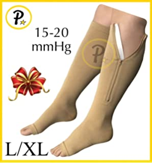 8d1b1125af3 New Open Toe Knee Length Zipper Up Compression Hosiery Calf Leg Support  Stocking (L