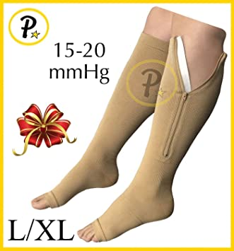fc6dd0fcf21 Image Unavailable. Image not available for. Color  New Open Toe Knee Length  Zipper Up Compression Hosiery Calf Leg Support ...