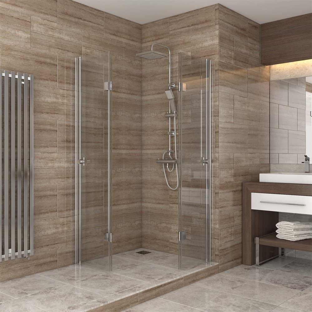 ducha cabina de ducha puerta plegable de vidrio mampara de ducha ...