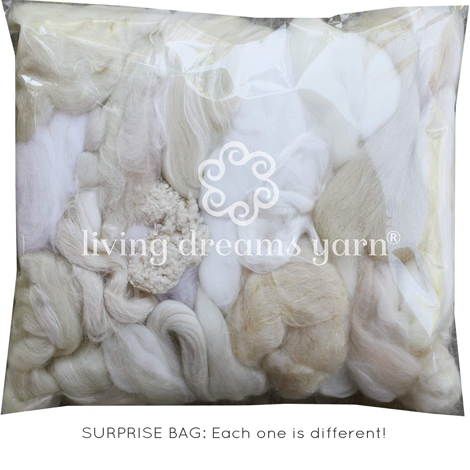100/% Wool Assorted Wool Roving Ends /& White Natural Wool for Needle Felting