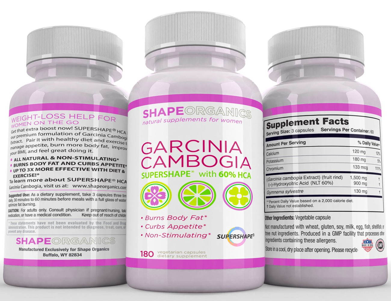 SAFE AND EFFECTIVE Natural Appetite Suppressant. Pure Garcinia Cambogia Extract. LOSE WEIGHT and KEEP IT OFF. 180 Capsules. Powerful weight loss - Gentle on you by Shape Organics