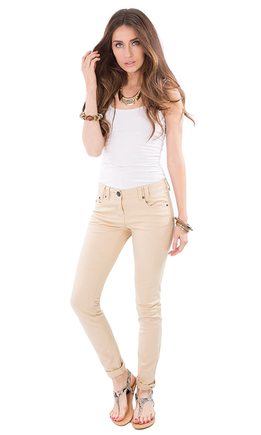 Womens Ladies Black/Beige Colour Wash Denim Skinny Fit Jeans