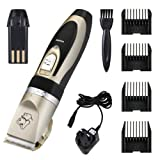 Erty Electric Pet Grooming Clippers, 4 Comb Guides Rechargeable Cordless Pet Hair Shaver, with Low Noise Low Vibration, Cordless Pet Fur Grooming Set with Cleaning Brush for Cats and Dogs (Gold+Black)