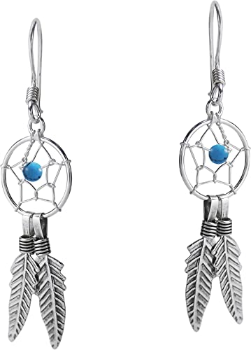 Vintage Native American Indian sterling silver turquoise feather earrings dangling southwestern super cute free shipping!