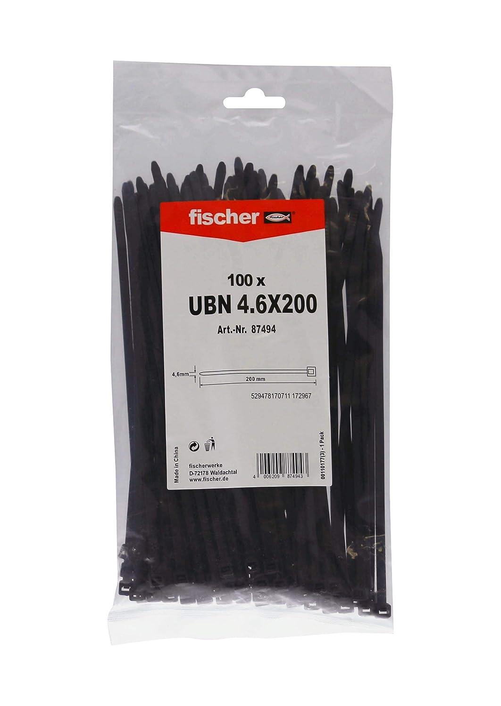 FISCHER 069375 Envase de 100 ud. Brida UBN 7,6x550 negra