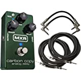 MXR M169 Carbon Copy Analog Delay Pedal Bundle All analog Delay Pedal with 600ms Delay Time, Two Adjustable Internal Trim Pots and Blue LEDs with 2 Patch Cables and 2 Instrument Cable