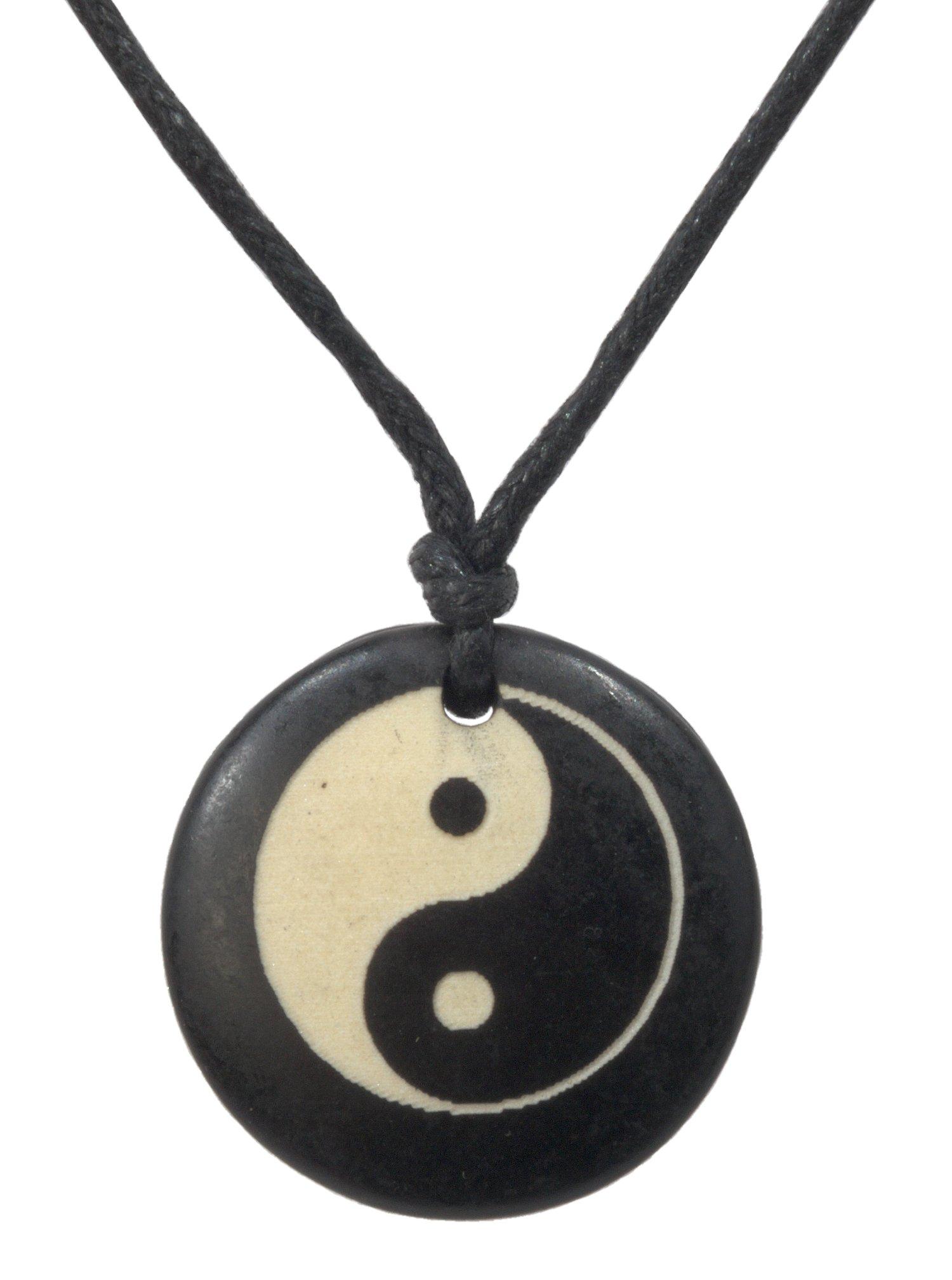 Necklace, One Handmade Unisex Necklace Carved Ying Yang Wood/Cotton (dyed) Macrame Adjustable 19'' + FREE GIFT BAG