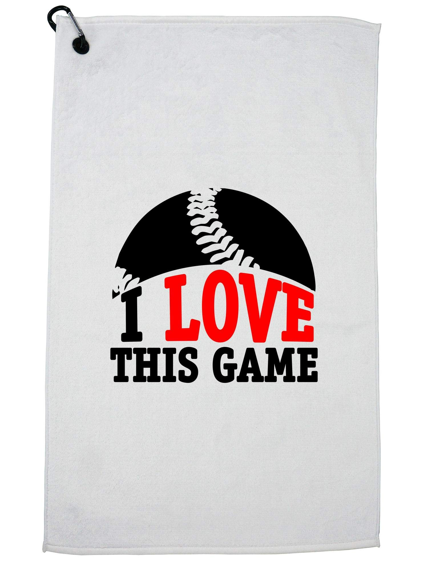 Hollywood Thread I Love This Game - Cool Vintage Baseball Golf Towel with Carabiner Clip
