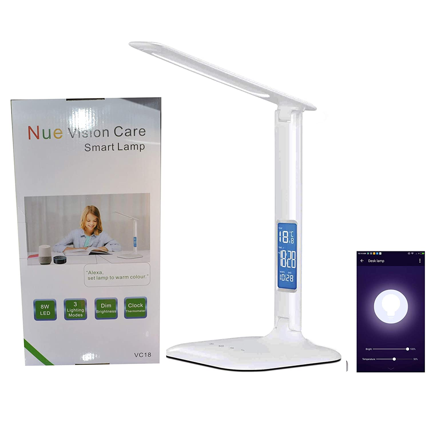 Smart WiFi Alexa Google Assistant Control LED Desk Lamp with Eye Caring Reading Light, 3 Lighting Mode, 5-Level Dimmer, Touch Control, Built-in Clock, Calendar, Thermometer