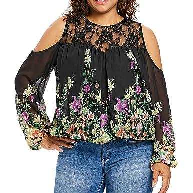 d15e216cdfc25 aliveGOT Women s Plus Size Lace Cold Shoulder Tops Floral Print Long Sleeve  T-Shirt Blouse