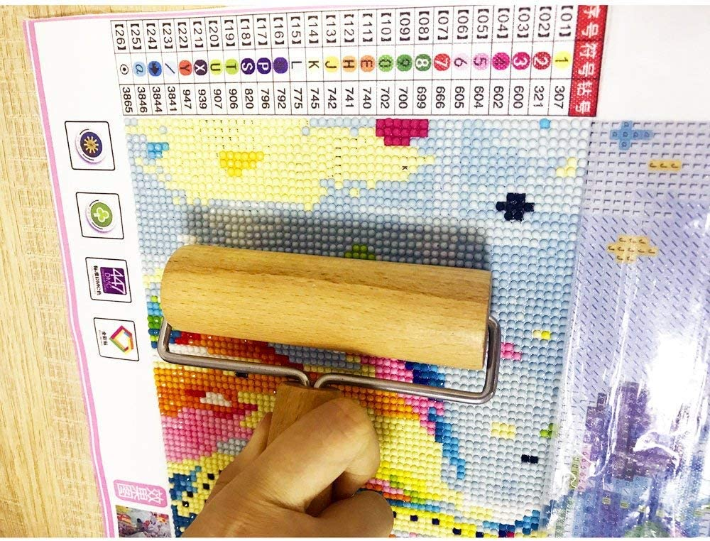 Mobicus 5D Diamond Painting Wooden Roller for DIY Rhinestone Embroidery Cross-Stitch Painting Compact one Side Diamond Painting Tool for Rolling Diamond Beads Tightly Paste and Flat