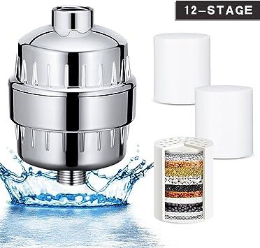 Wonyered - Filtro de ducha universal, purificador de agua de 12 ...