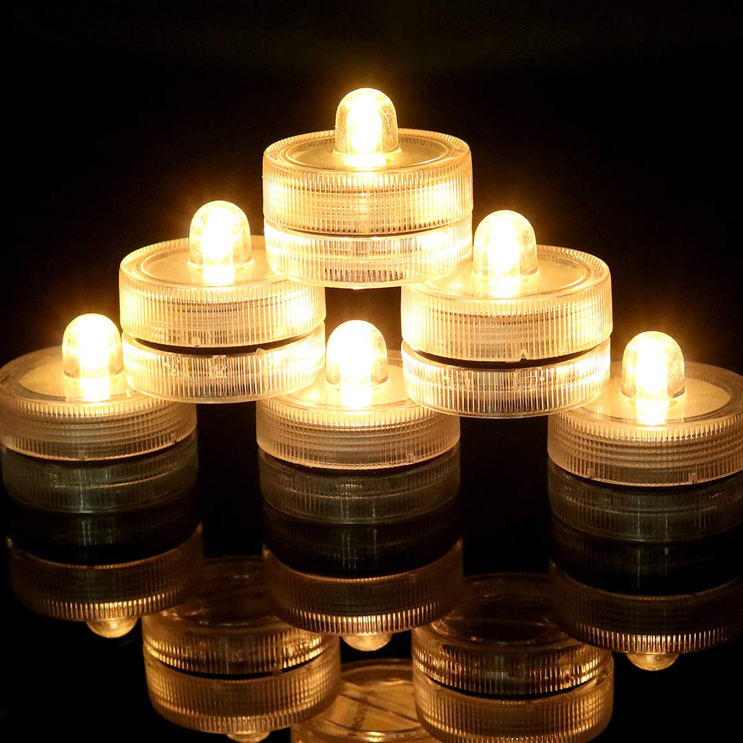 HL 36pack Warm White Waterproof Underwater Round Mini LED Tea Lights Submersible Lights for Wedding Home Patry Vase Festival Decoration