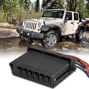 VISLONE Panel de interruptores basculantes, Controlador de la caja de interruptores de encendido/apagado de 80 amperios Caja de interruptores basculantes de 20 A Panel de 6 voltios SPST: Amazon.es: Coche y moto