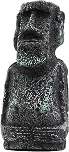 Dvirroi Ancient Easter Island Stone Head Aquarium Ornament, Resin Replicas of Moai Statues Easter Island Statue, Fish Tank Landscape Ornament Aquarium Decor Decoration Accessories