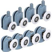 HO2NLE 8pcs Rodamientos Mampara Ducha 25mm Ruedas para Mamparas de Baño de Cristal 4-6mm 4 piezas Superiores y 4 piezas…