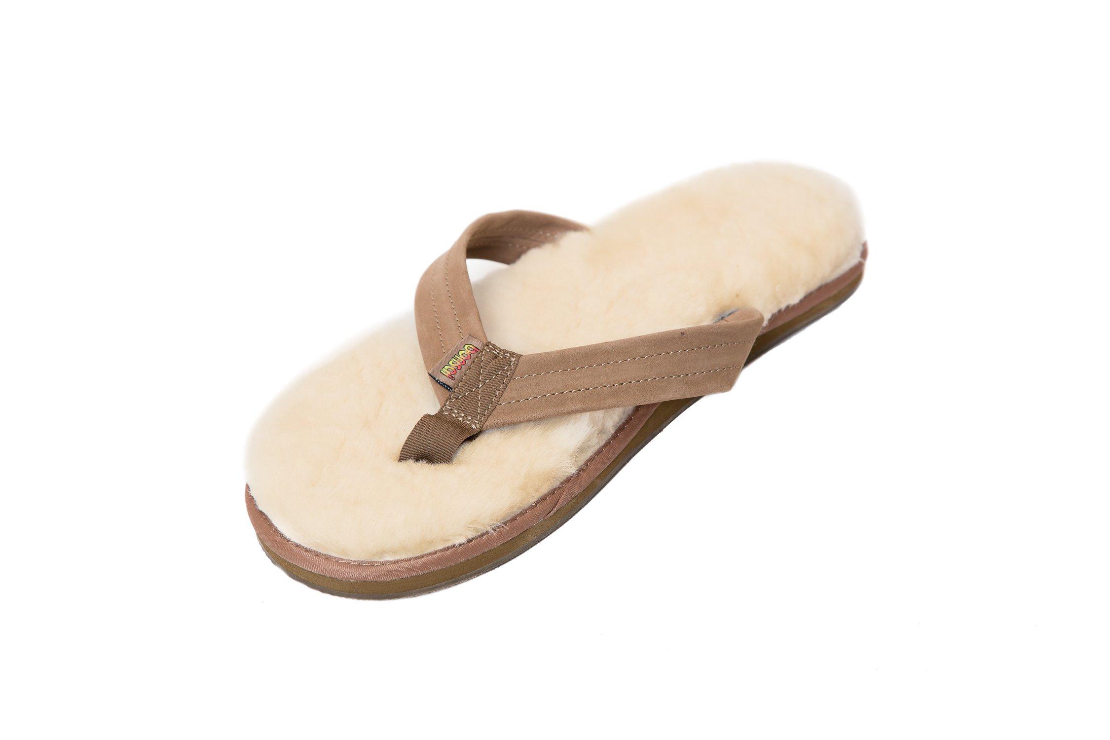 Bonsai Men's Sheepskin Sandal Flip Flops, Brown, 12 US by Bonsai Sandals (Image #1)
