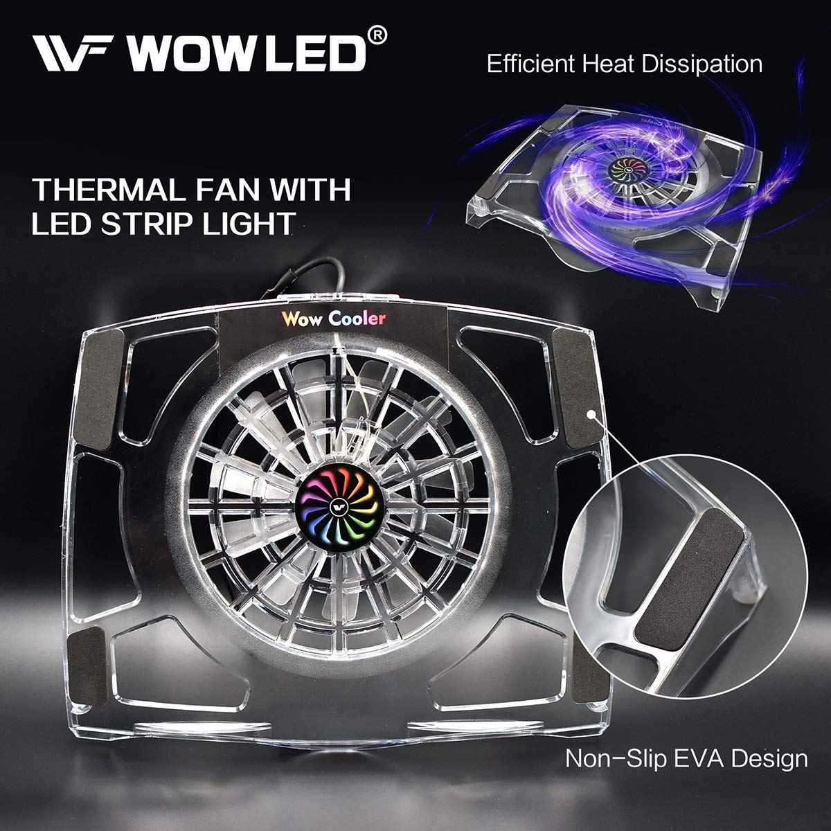 WOWLED Upgrade Sturdy LED Cooling Cooler Fan 3-Key Mini Controller PS4 Accessories Pro Cooling Fan, Xbox One X 360 Playstation 4 Sony Game Console PC, All-in-One USB RGB LED Fan Pad Stand Coolers by WOWLED (Image #6)