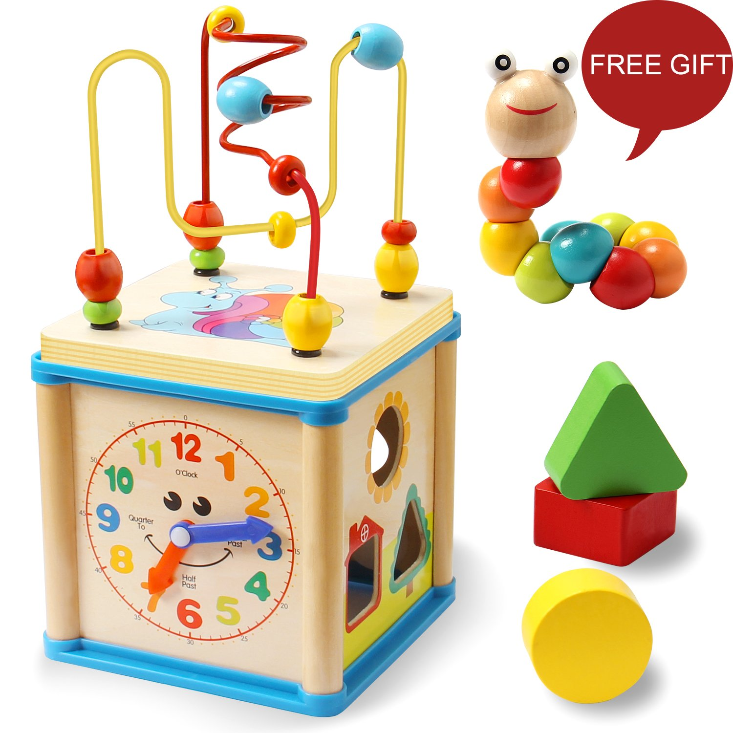 LuaLua Baby Toys for 1 2 3 Year Old Educational Wooden Bead Maze Shape Sorter Activity Cube Gifts for Boy And Girl Toddlers