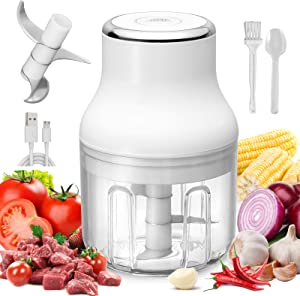 Electric Mini food Chopper, Wireless Portable Food Processor with USB Charging, Garlic Chili Onion Fruits Meat Chopper,Electric Food Grinder, Baby Food Maker,IP68 waterproof, 250ml (White)