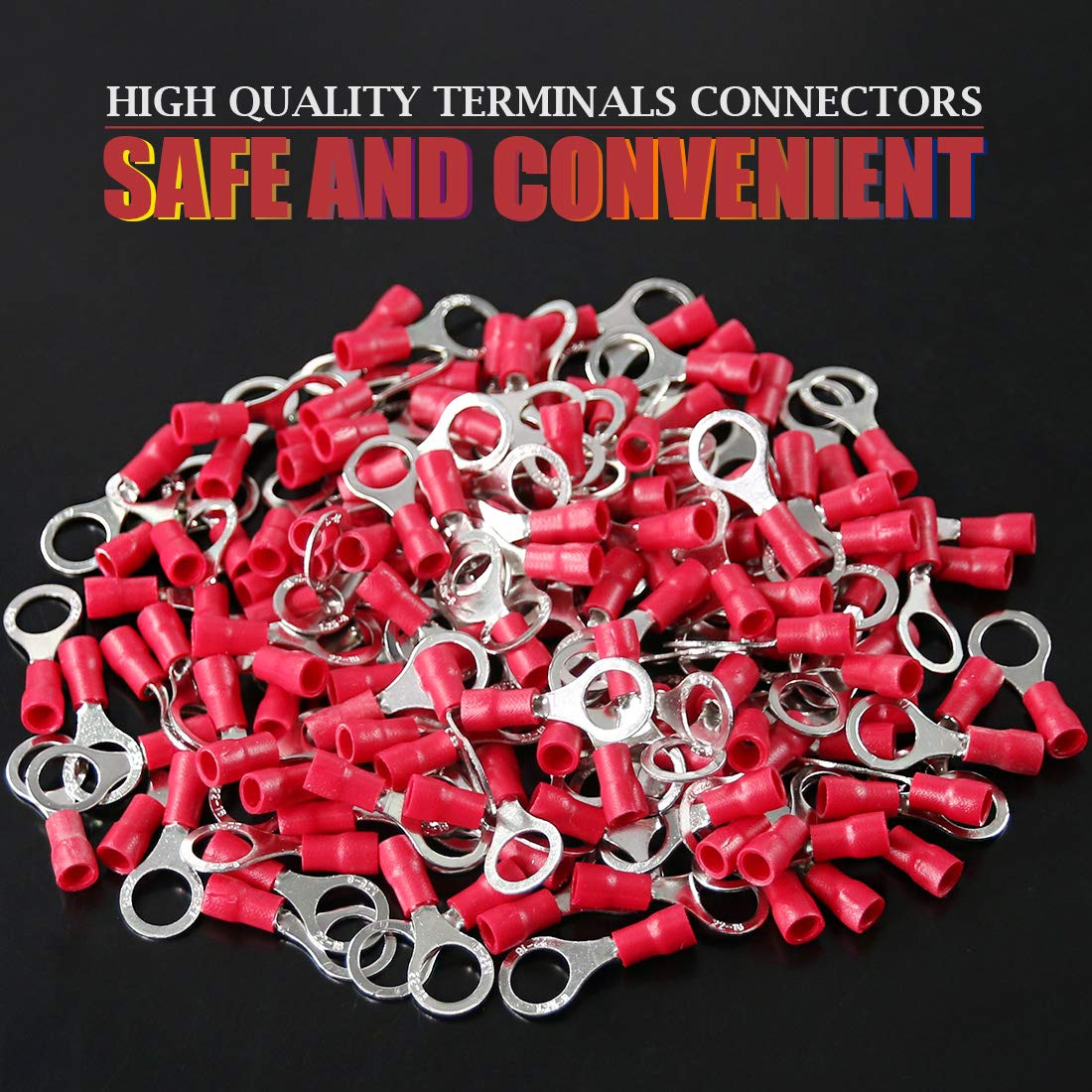 Hilitchi 100pcs 22-16 Gauge Ring Insulated Electrical Wire Terminals Wire Crimp Connectors M4, Red
