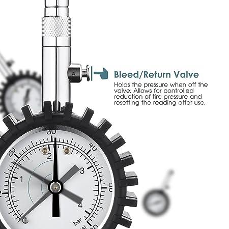Medidor de presión de los neumáticos omorc, válvula de purga integrado 60PSI con llamada rápida precisión portátil duradero Medidor de presión neumático, ...