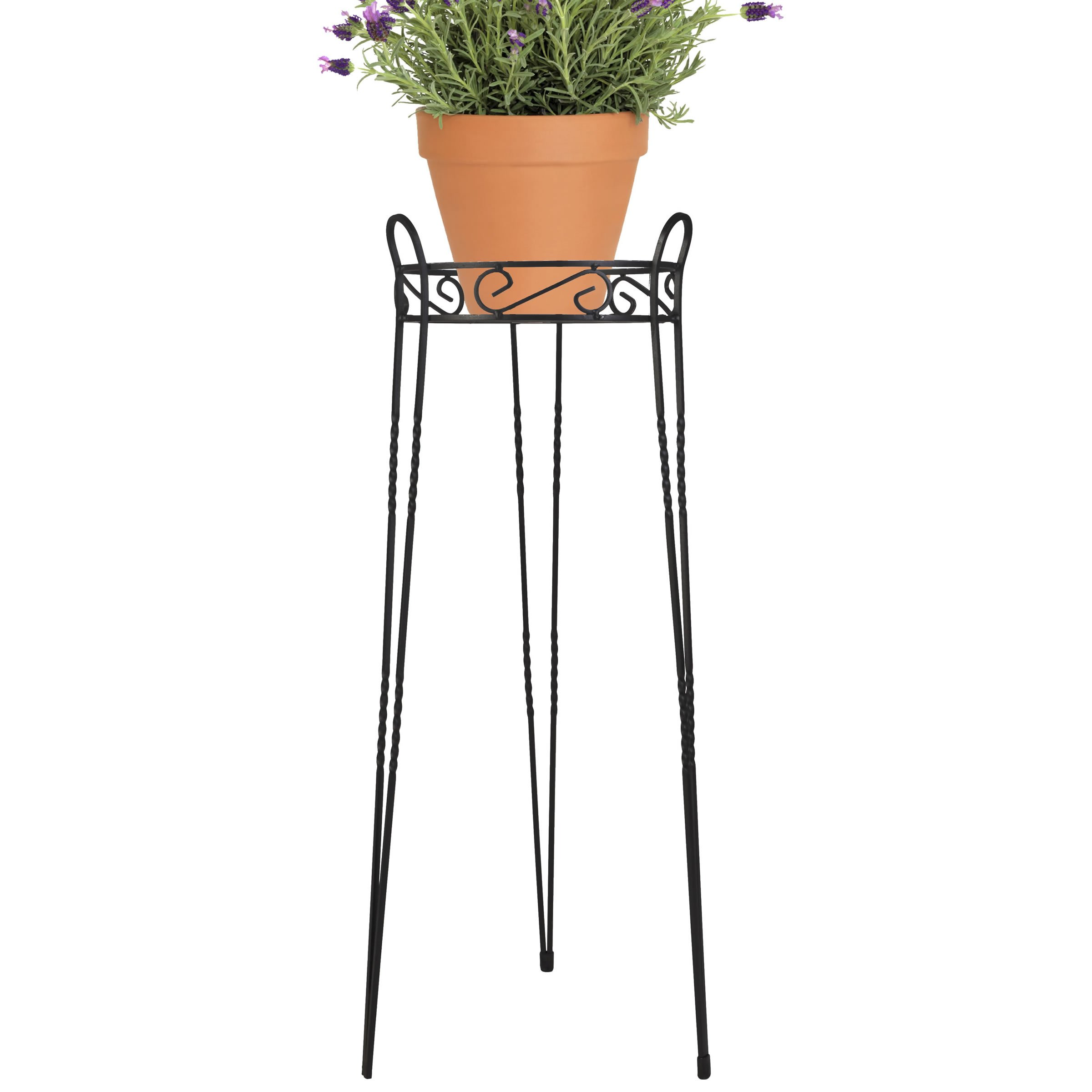 CobraCo Canterbury 30-Inch Black Scroll Top Plant Stand SCBPS1030-B