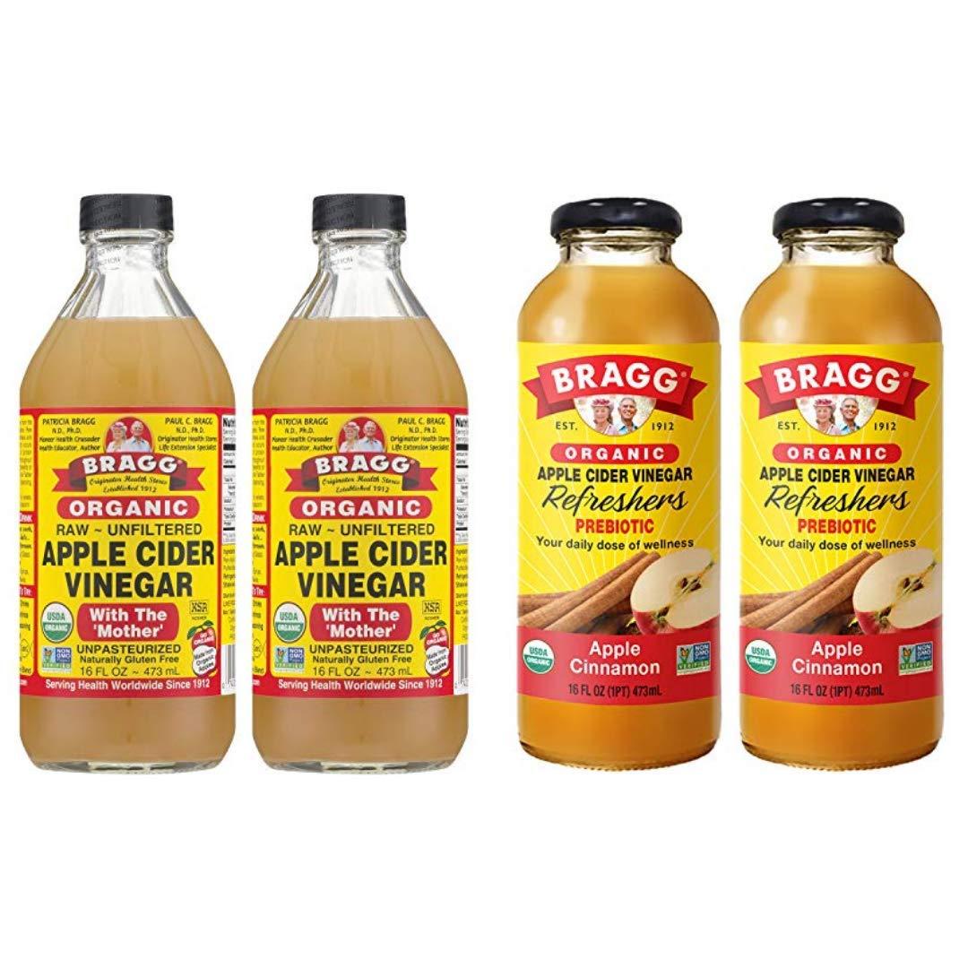 Bragg Organic Apple Cider Vinegar With the Mother 16 Ounce 2 Pack and Bragg Organic Apple Cinnamon Vinegar Drink 16 Oz 2 Pack Bundle