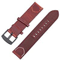 Hemobllo 22mm Nylon Watch Band Release Wrist Band Sport Straps Adjustable Replacement Watch Bands Metal Buckle Wristband (Coffee)