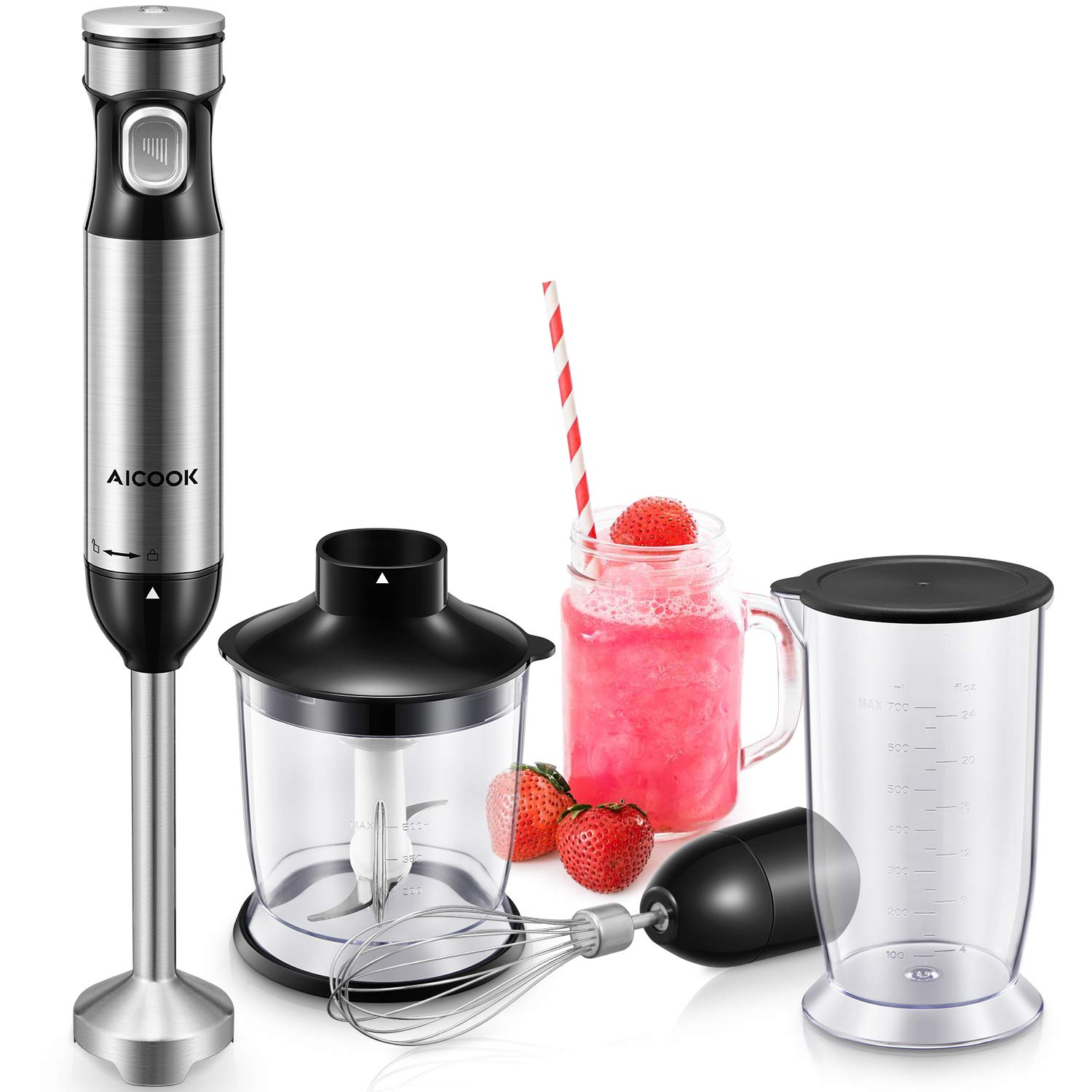Hand Blender, Powerful Immersion with Smart Stepless Speed Regulation, Aicook 4-in-1 Immersion Hand Blender