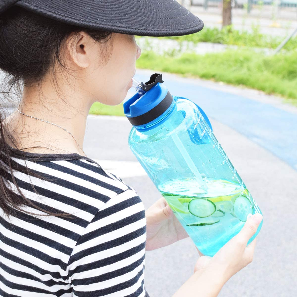 QuiFit Sport Water Bottle with Straw/Time Marker Large Capacity ...