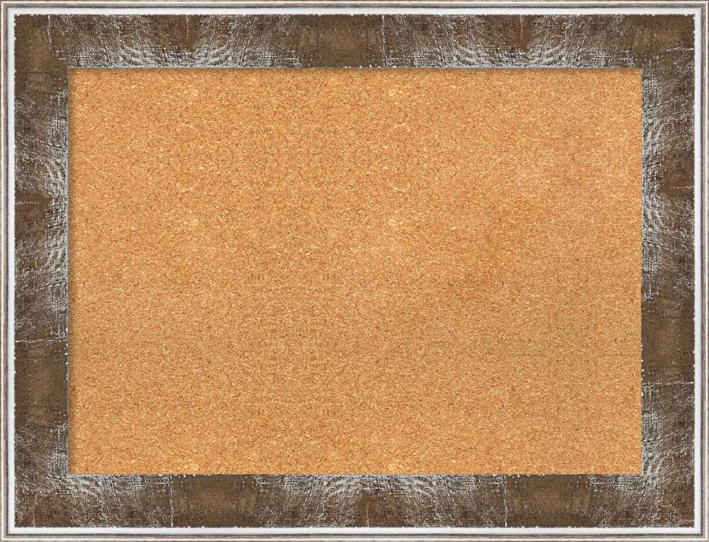 Amanti Art Natural Cork Farmhouse Brown Framed Bulletin Boards, 34 x 26,