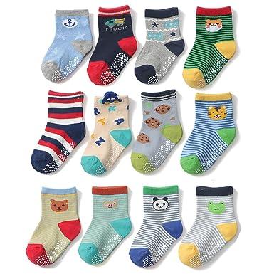 Yafane 12 Paar Baby ABS Antirutsch Socken Anti-Rutsch Rutschfest Kleinkinder Babysocken f/ür Baby Jungen