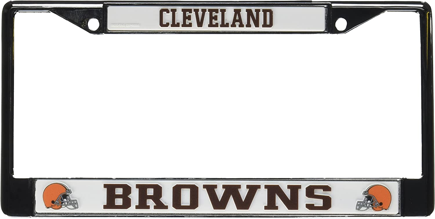 NFL Cleveland Browns Chrome License Plate Frame,12-Inch by 6-Inch,Silver