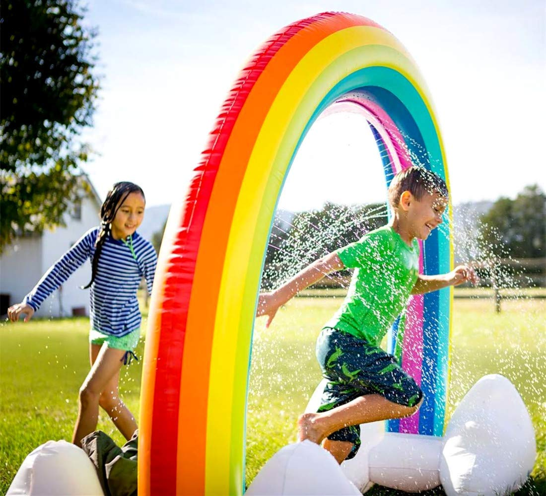 FORSTART Sprinkler Inflatable Rainbow Arch Toy Outdoor Water Play Sprinklers Over 6 Feet Long Summer Fun Backyard Play for Infants Kids by FORSTART