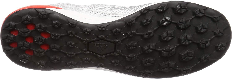 adidas Predator 19.3 Turf, Chaussure de Football, Silver Metallic-Core Black-Hi Red Argent Noir Rouge