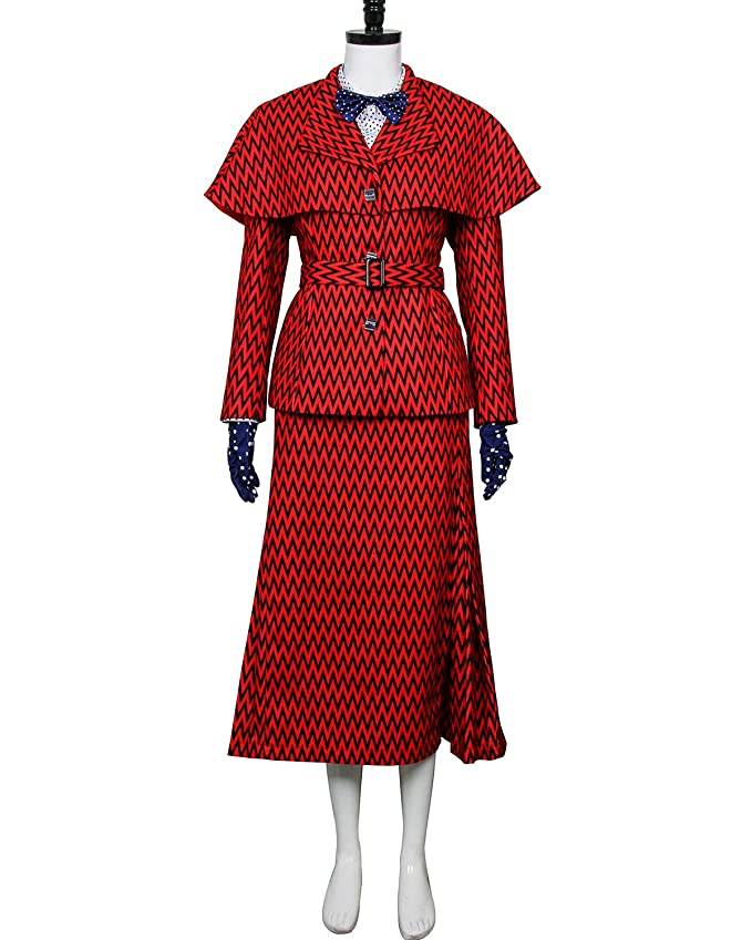 1930s Style Coats, Jackets | Art Deco Outerwear COSFLY Women Nanny Mary Returns Costume Suit Jacket Top Trench Coat Skirt Cosplay Outfits $173.99 AT vintagedancer.com
