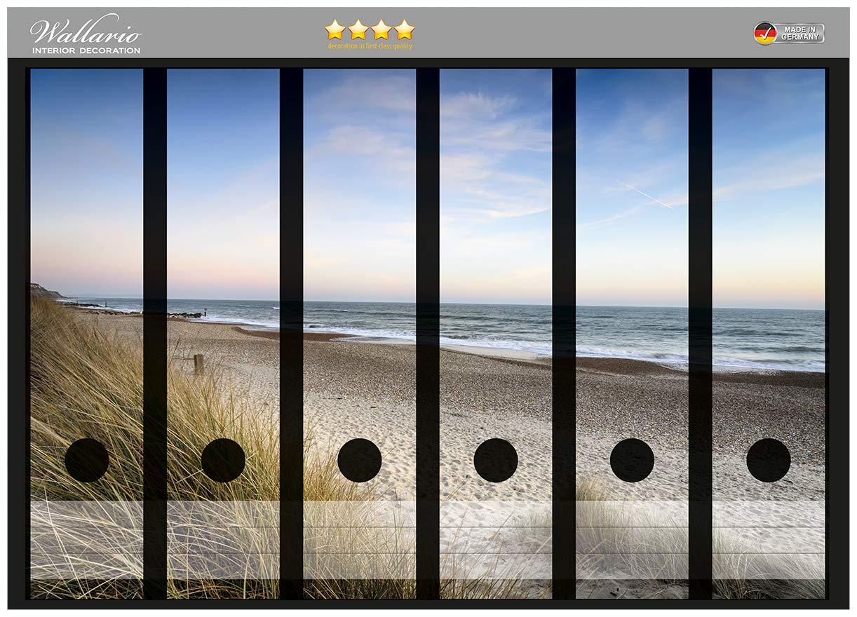 Wallario Ordnerrücken selbstklebend für 9 breite Ordner Strand Urlaub Ostsee
