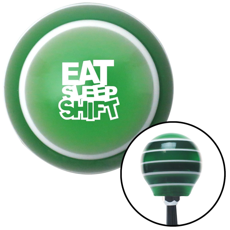 American Shifter 275072 Shift Knob White Eat Sleep Shift Green Stripe with M16 x 1.5 Insert