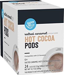 Amazon Brand - Happy Belly Hot Cocoa Pods Compatible with 2.0 K-Cup Brewers, Salted Caramel Flavored, 24 Count