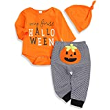 Newborn Baby Girls Boys Halloween Costumes Happy Halloween Spider Romper Striped Pumpkin Pants Outfits