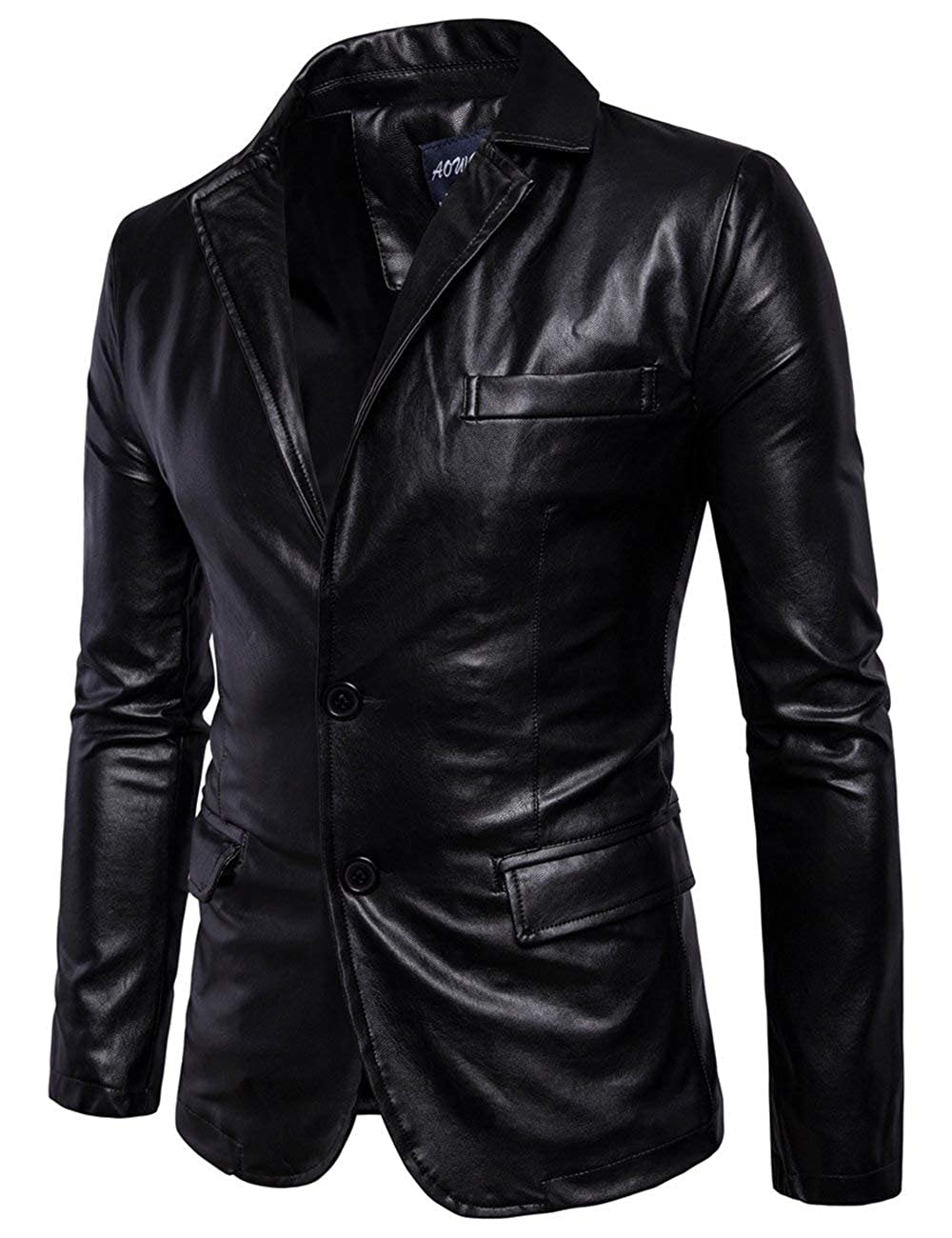 Minghe Mens Fashion PU Leather Blazer Jacket Tailored Collar Two Button Jacket
