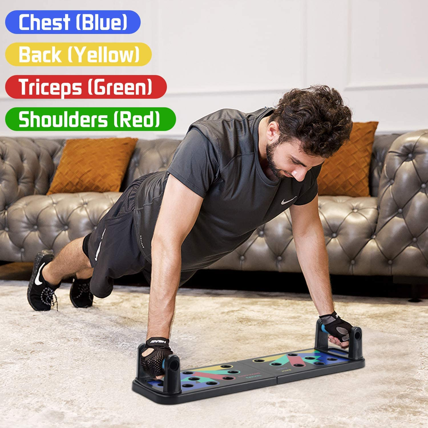 Body Strength Building Exercise Tools for Push up for Men Women Home Fitness Training PJs Push Up Board Portable Bracket Board Push Up Training System