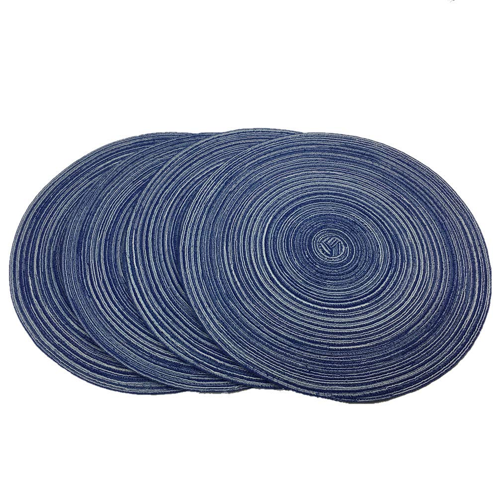 Red-A,Placemats,Round Placemats for Dining Table Set of 4 Woven Heat Resistant Non-Slip Kitchen Table Mats Diameter 14 inch(Blue)