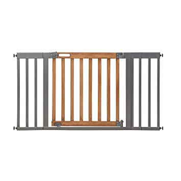Amazon Com Summer West End Safety Baby Gate Honey Oak Stained Wood With Slate Metal Frame 30 Tall Fits Openings Up To 36 To 60 Wide Baby And Pet Gate For Wide