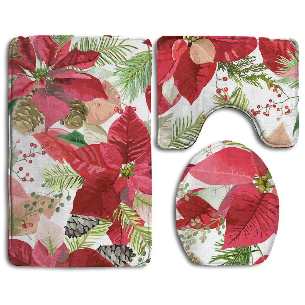GNZYQ Christmas Poinsettia Flowers Seamless Background 3 Piece Bathroom Rug Set, Flange Blanket FaceBathroom Shower Mat The Bath Carpet Toilet Seat Assembly GNZYQ Manufacturer