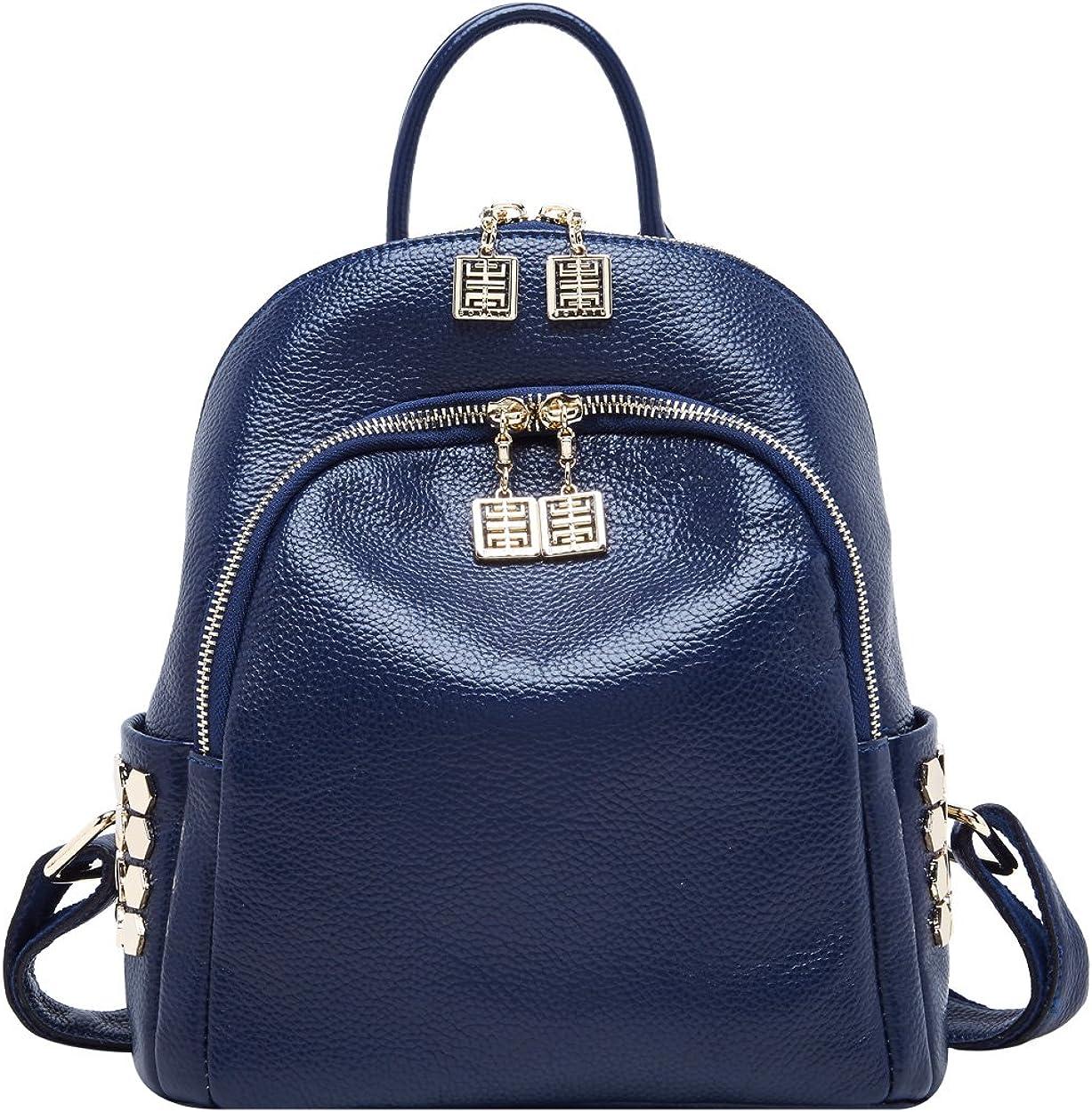 BOYATU Genuine Leather Backpack for Women Designer Mini Backpack Purse Stylish Bag