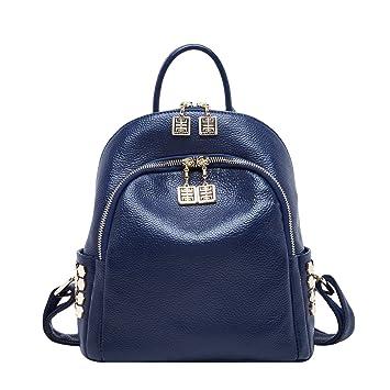 f805517e9e BOYATU Sac à Dos en Cuir Véritable pour Femmes Mode Sac à Dos Mini Daypack (